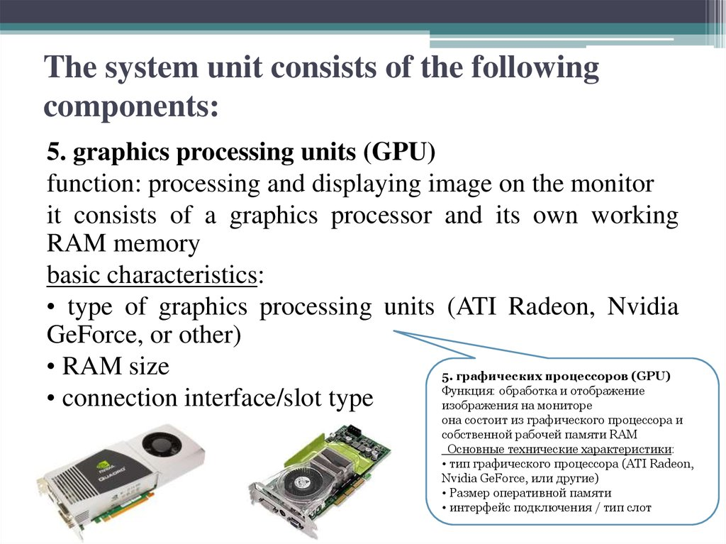 The system unit consists of the following components: