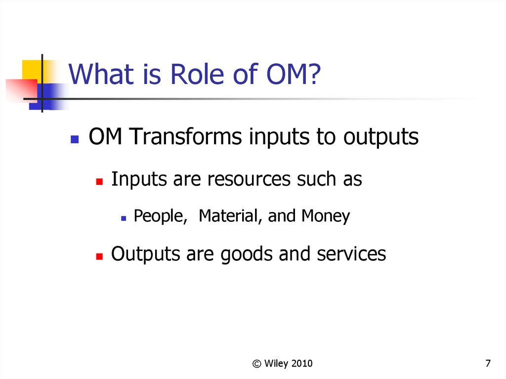 What is Role of OM?