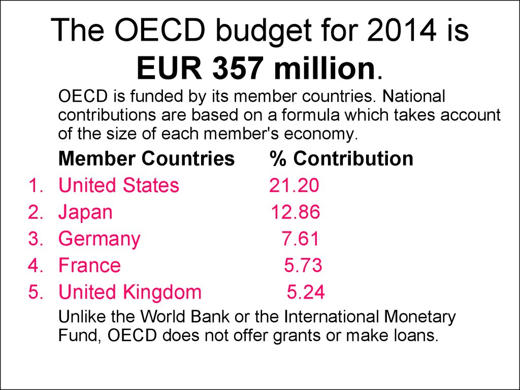 The OECD budget for 2014 is EUR 357 million.