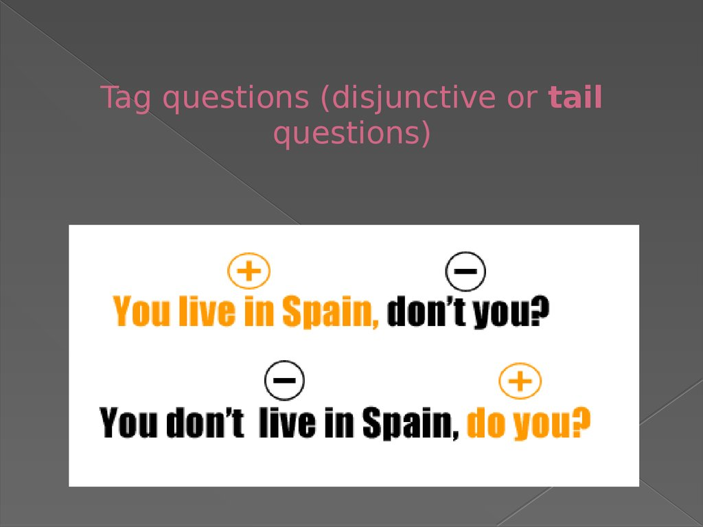 Tag questions (disjunctive or tail questions)