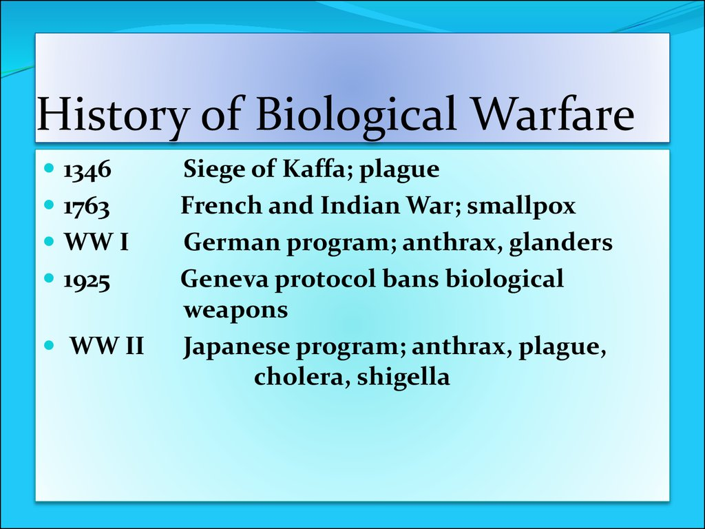 the early and modern history of biological warfare Biological and chemical warfare in the ancient world keen interest in the origins and early practice of biological unconventional ancient warfare and modern.