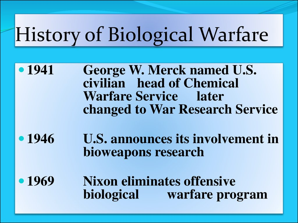 an overview of anthrax and the history of biological warfare Early history of biological warfare examples of the use of biological weapons exist in ancient records they built bombs containing the botulinum toxin, anthrax and aflatoxins iraqi scientists also studied the uses of wheat cover smut, ricin and the toxins produced by clostridium perfringens for.