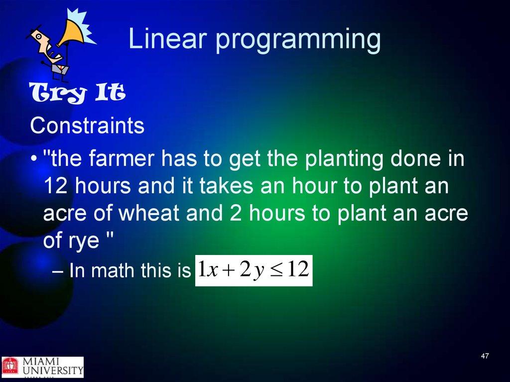 linear progamming