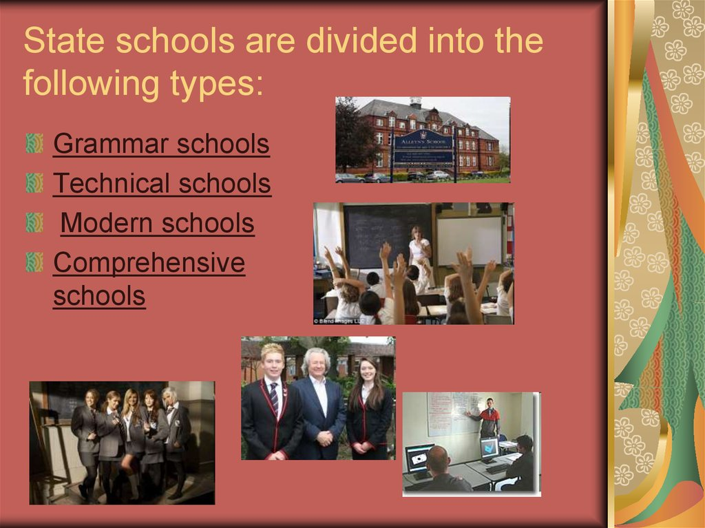 explain the characteristisc of the different types of schools in relation to educational stages and  Types of school and how they're run - community schools, academies, free schools, faith schools, state boarding schools faith schools may have different admissions criteria and staffing policies to state schools, although anyone can apply for a place.
