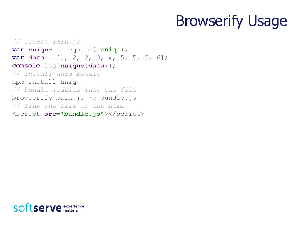 Practice Task: Sample of Browserify Usage