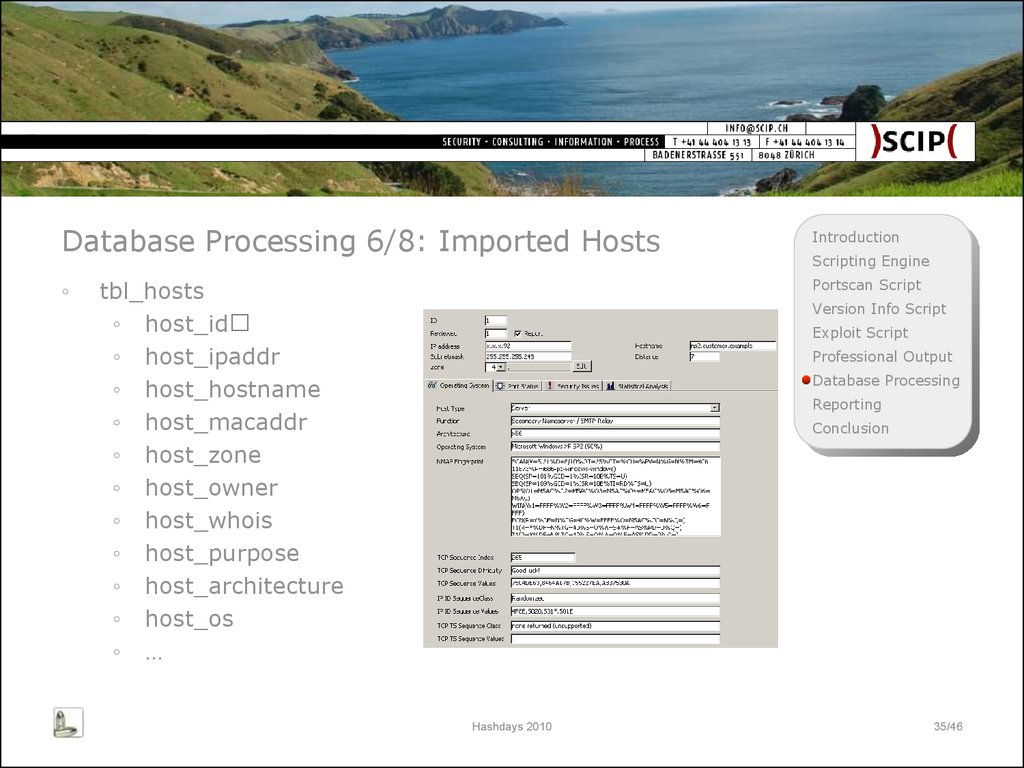 Database Processing 6/8: Imported Hosts