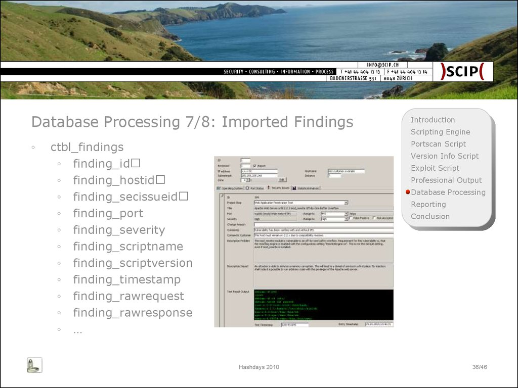 Database Processing 7/8: Imported Findings