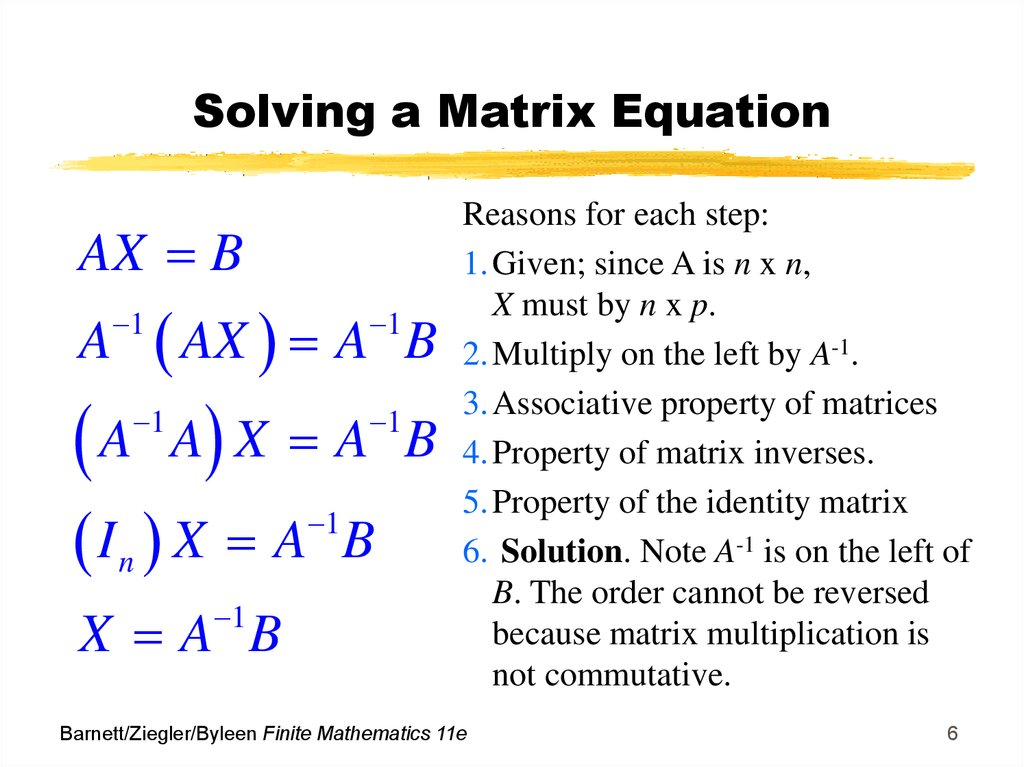 Matrix Equations and Systems of Linear Equations - online
