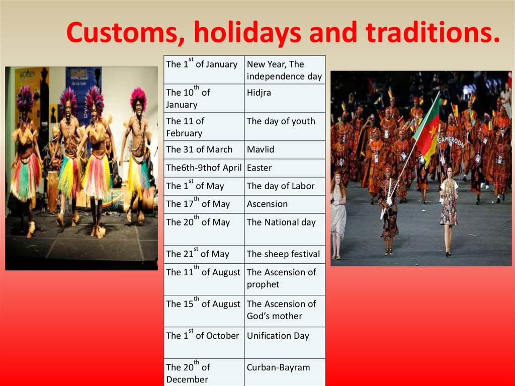 Customs, holidays and traditions.
