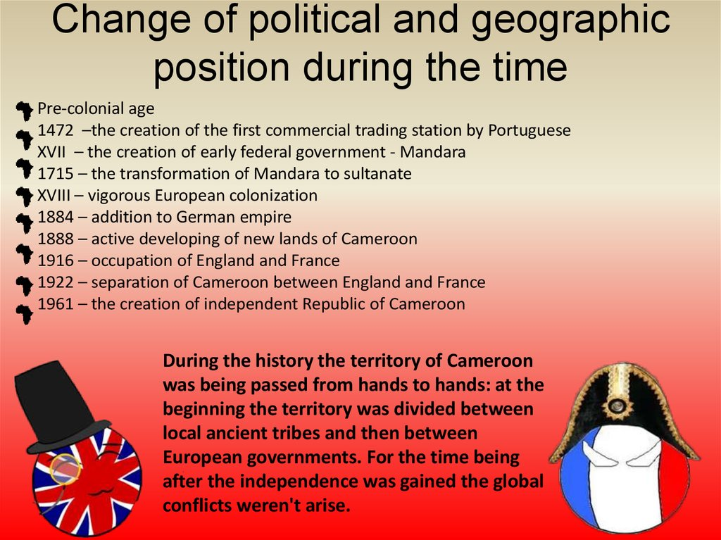 Change of political and geographic position during the time