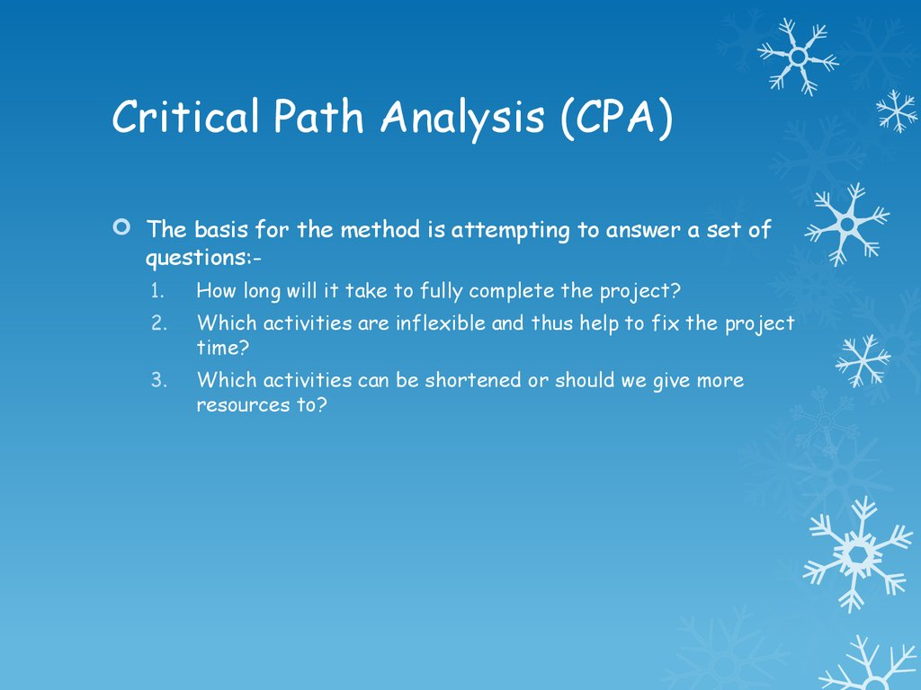 critical path analysis questions