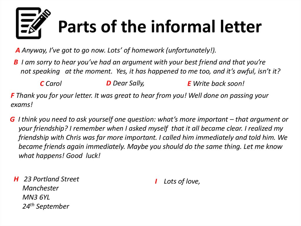 parts of the informal letter