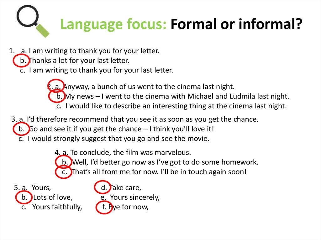letter language focus formal or informal