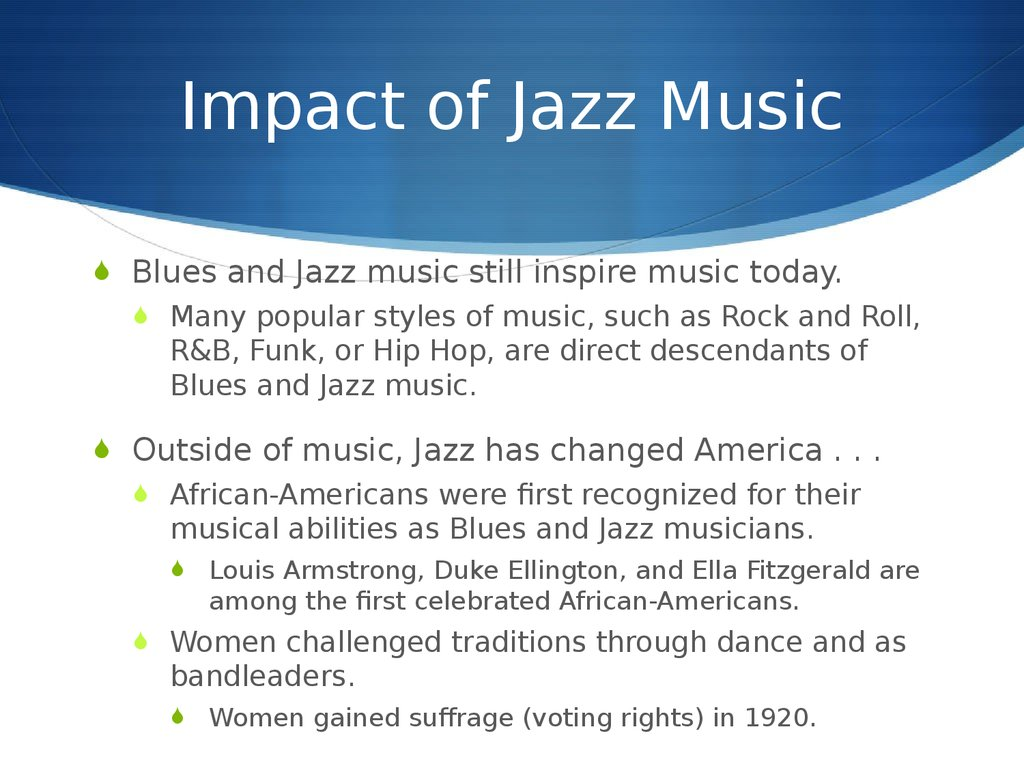the impact of african american blues music in america In the 1910s, a couple of blues-style songs were recorded by white vaudeville singers, but for the most part white-owned record companies didn't believe that a market existed for blues or, really, any african-american music thus, the early blues spent its first few decades almost entirely under the radar of mainstream american popular culture.
