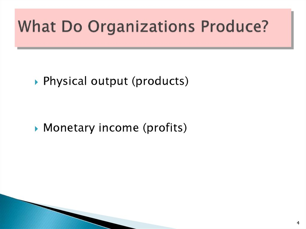 What Do Organizations Produce?