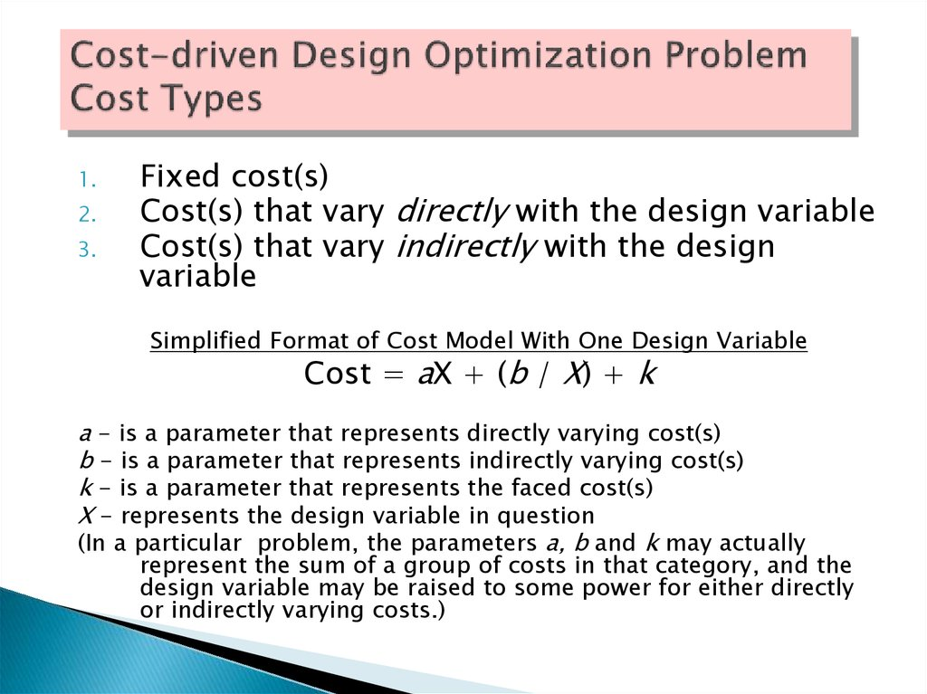 Cost-driven Design Optimization Problem Cost Types