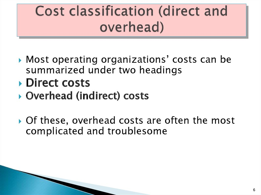 Cost classification (direct and overhead)