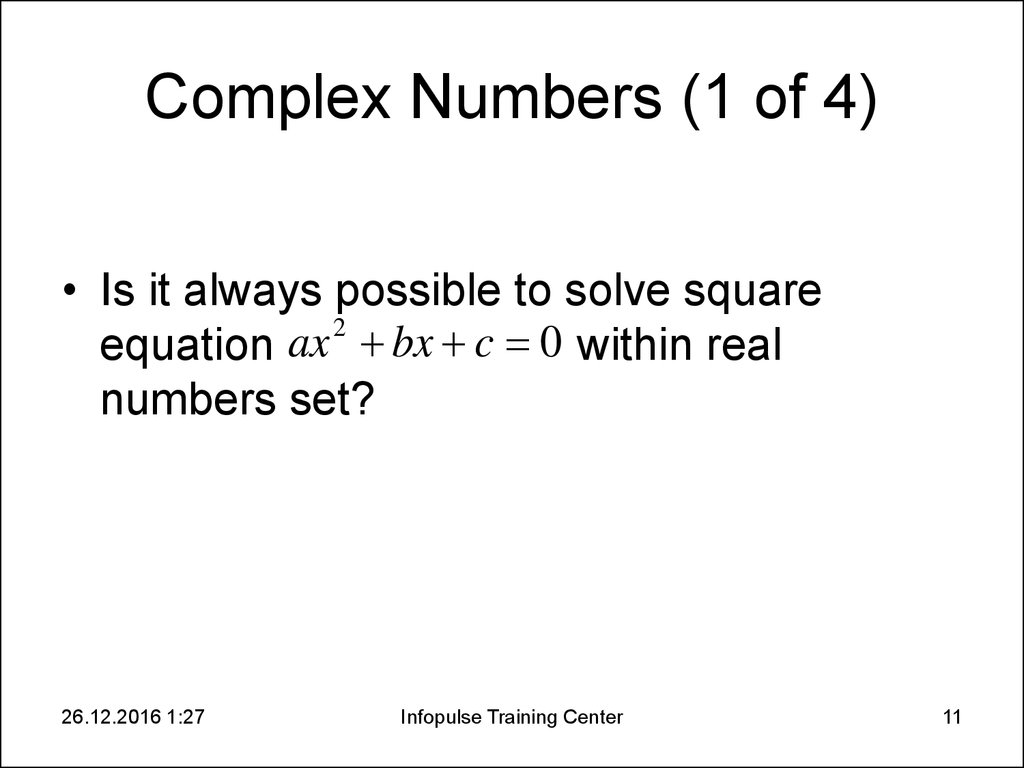 Complex Numbers (1 of 4)