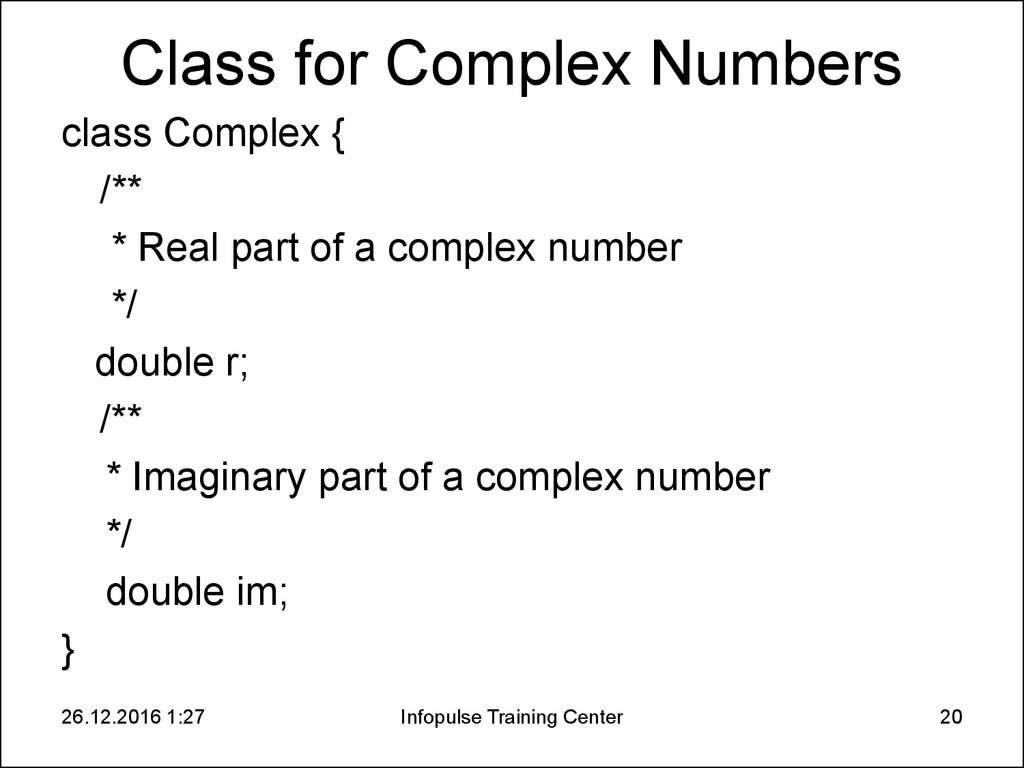 Class for Complex Numbers