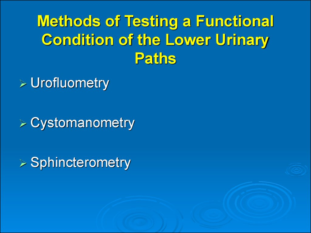 Methods of Testing a Functional Condition of the Lower Urinary Paths