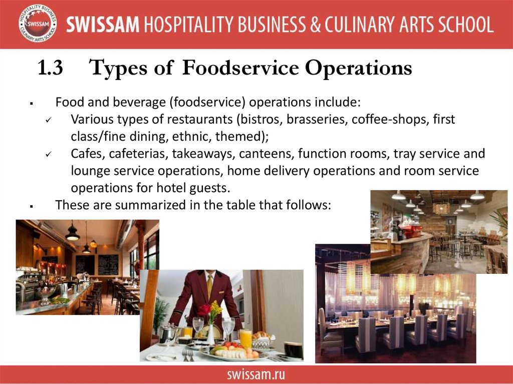 1.3 Types of Foodservice Operations