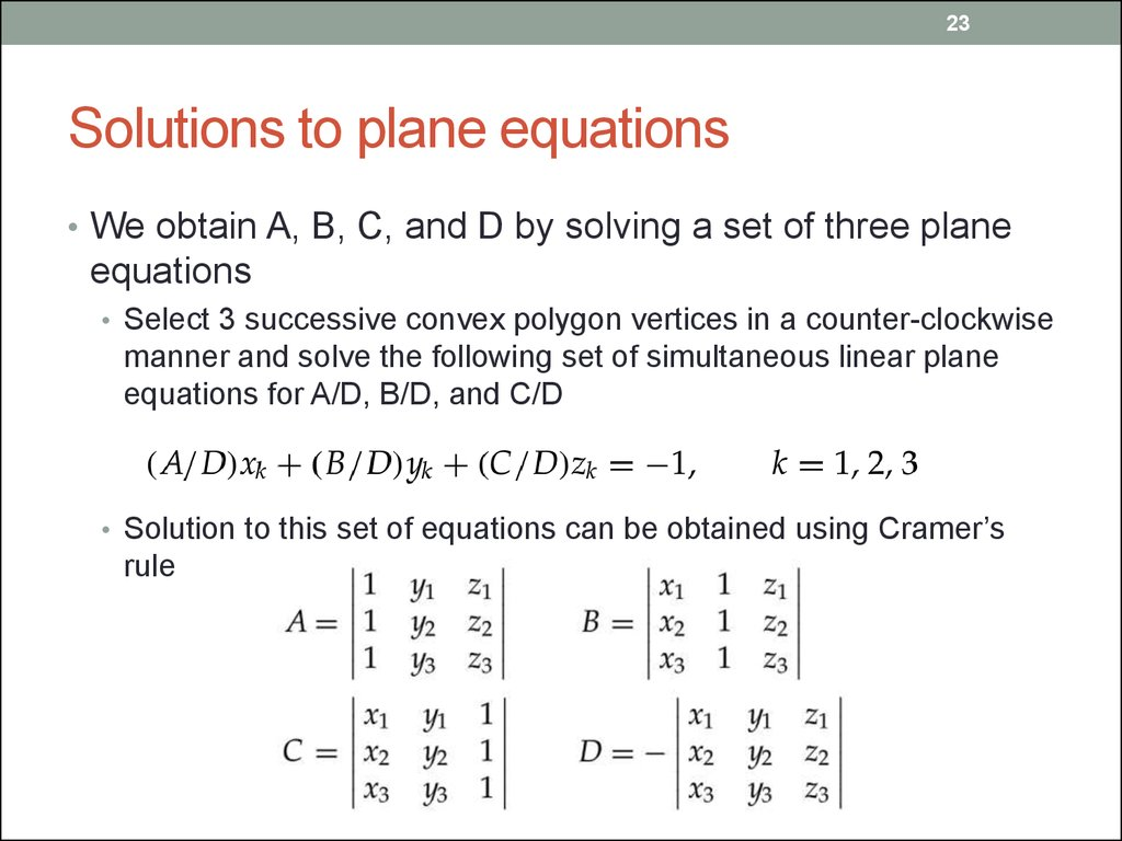 Solutions to plane equations