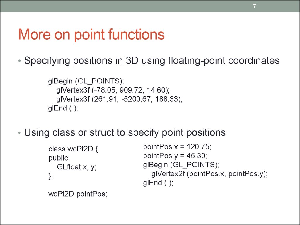 More on point functions