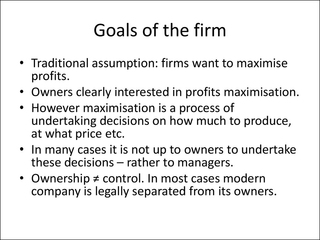 Goals of the firm