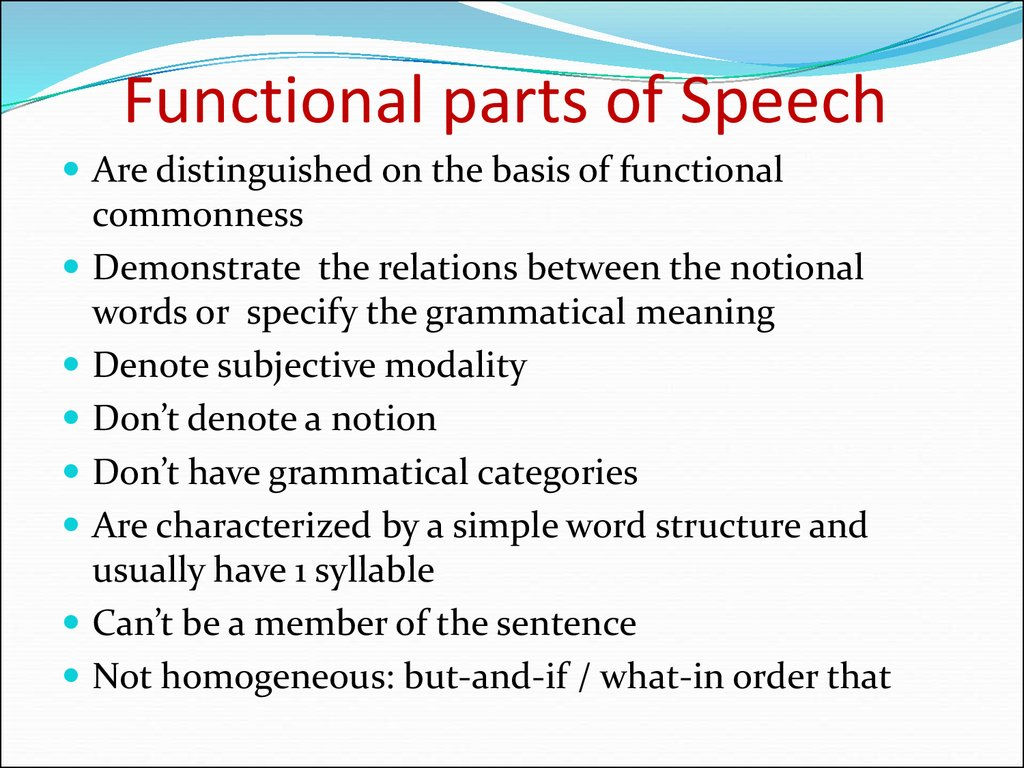 Functional parts of Speech