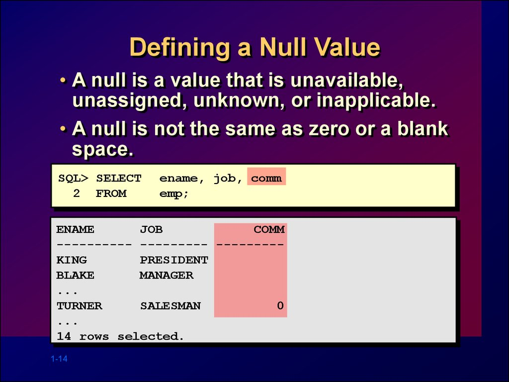 Defining a Null Value