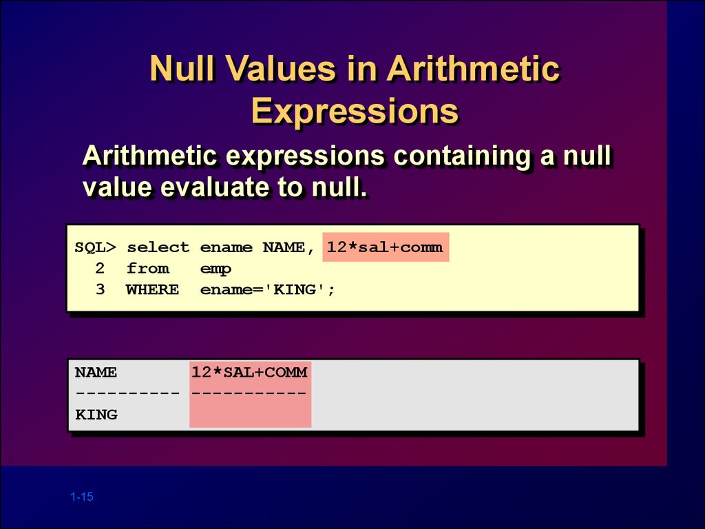 Null Values in Arithmetic Expressions