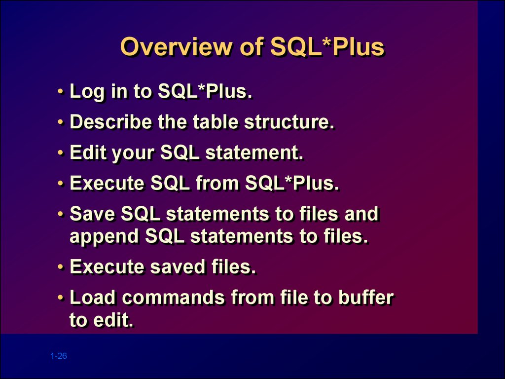 Overview of SQL*Plus