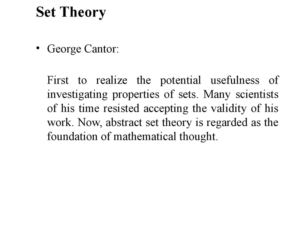 Set theory.