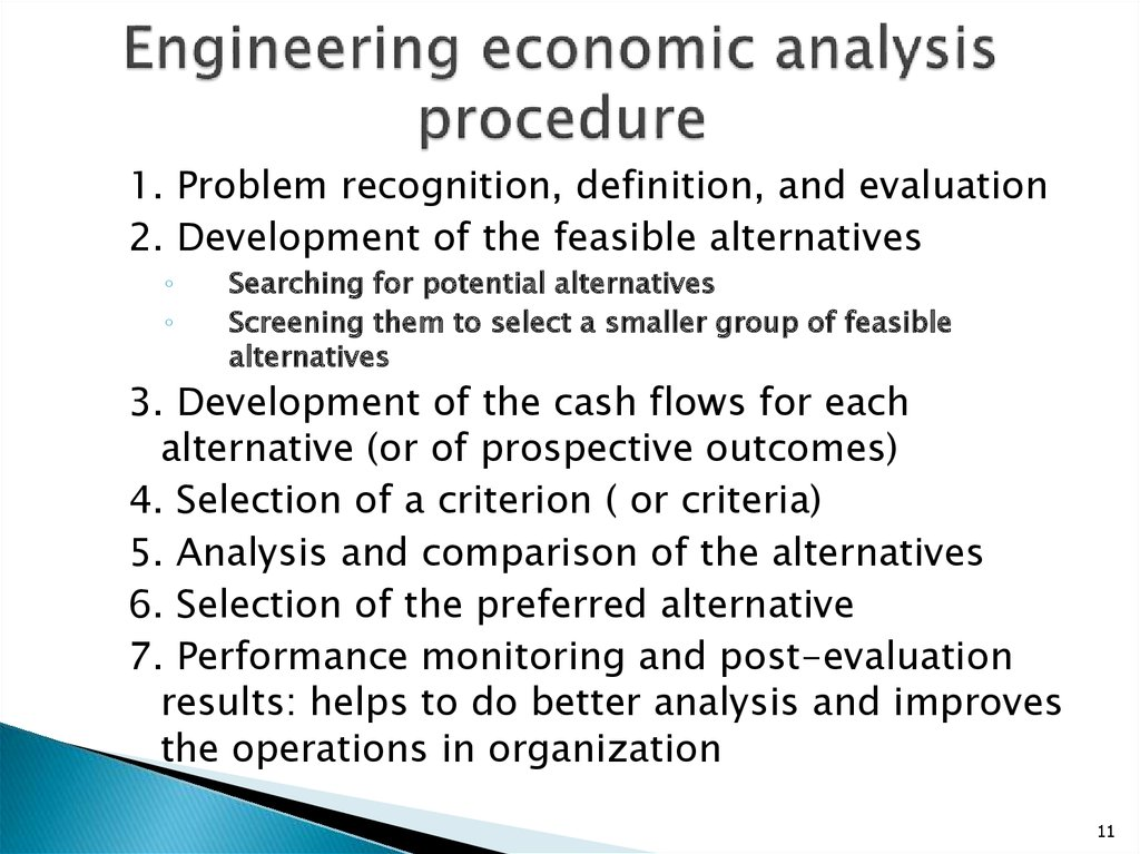 Engineering economic analysis procedure
