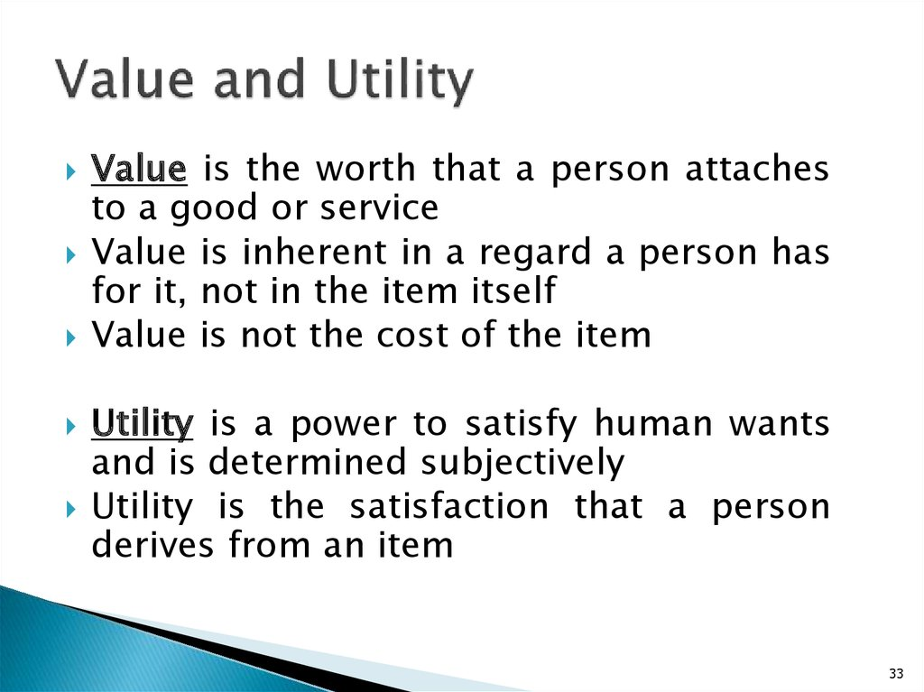 Value and Utility