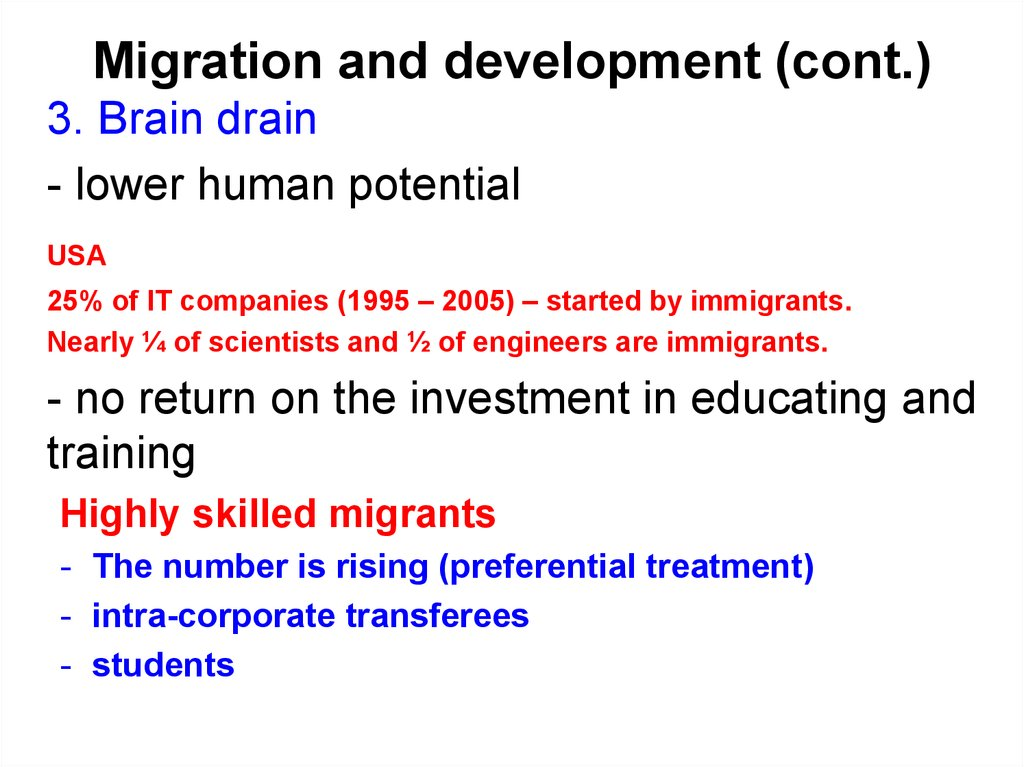 Migration and development (cont.)