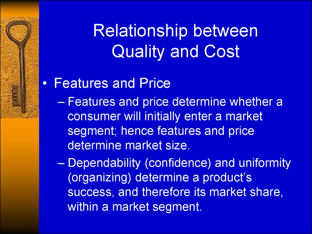 Relationship between Quality and Cost