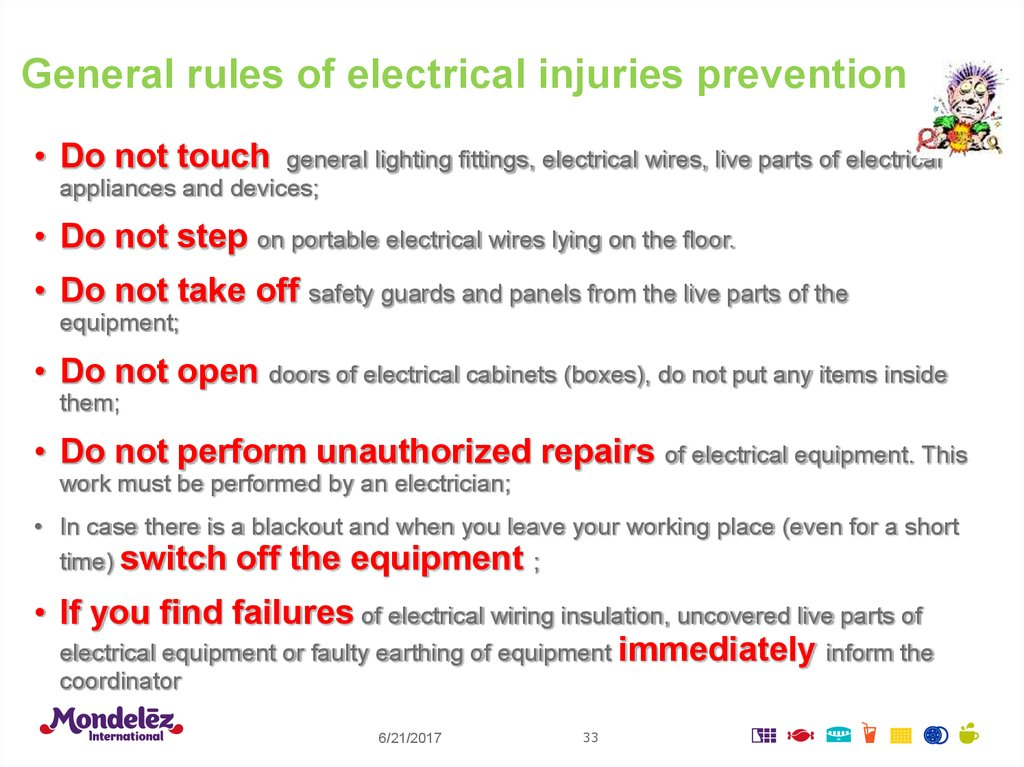 General rules of electrical injuries prevention