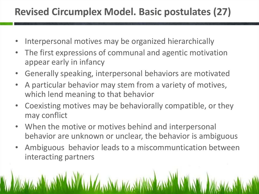 Revised Circumplex Model. Basic postulates (27)
