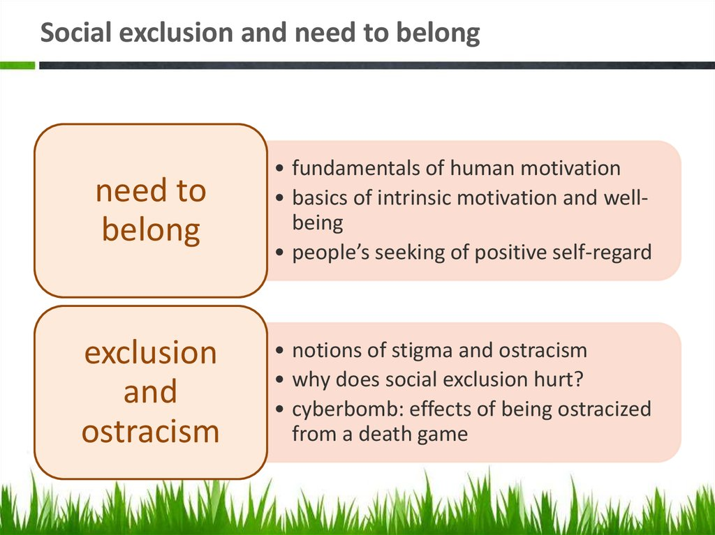 Social exclusion and need to belong