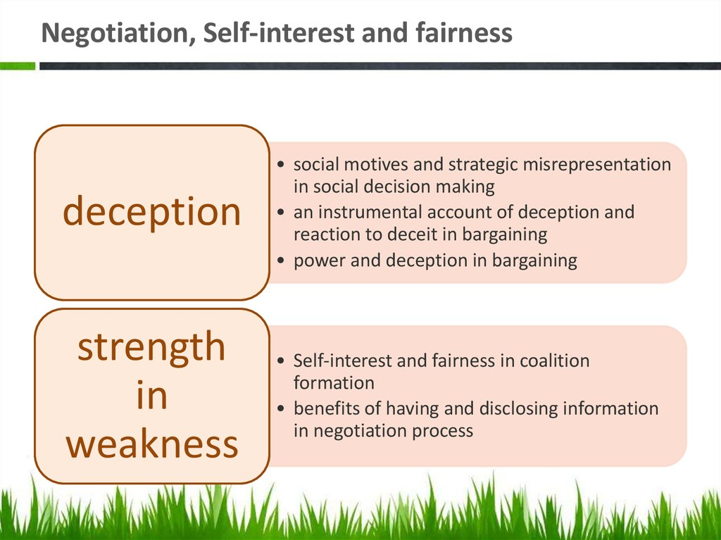 Negotiation, Self-interest and fairness