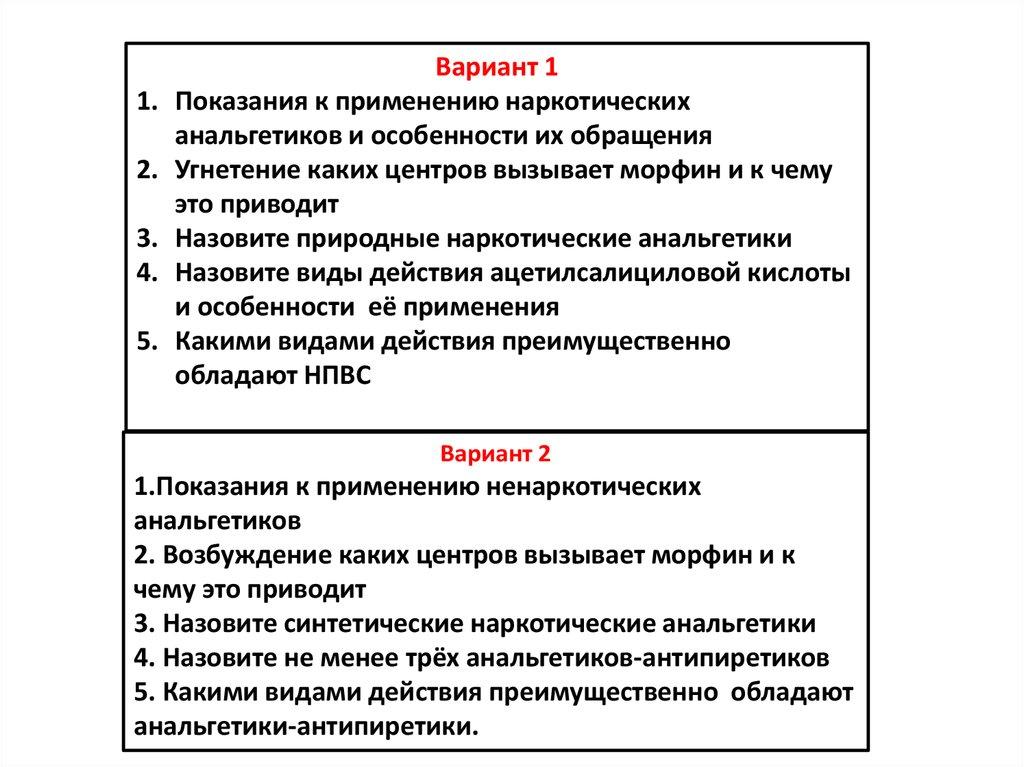 Основные виды анальгетиков