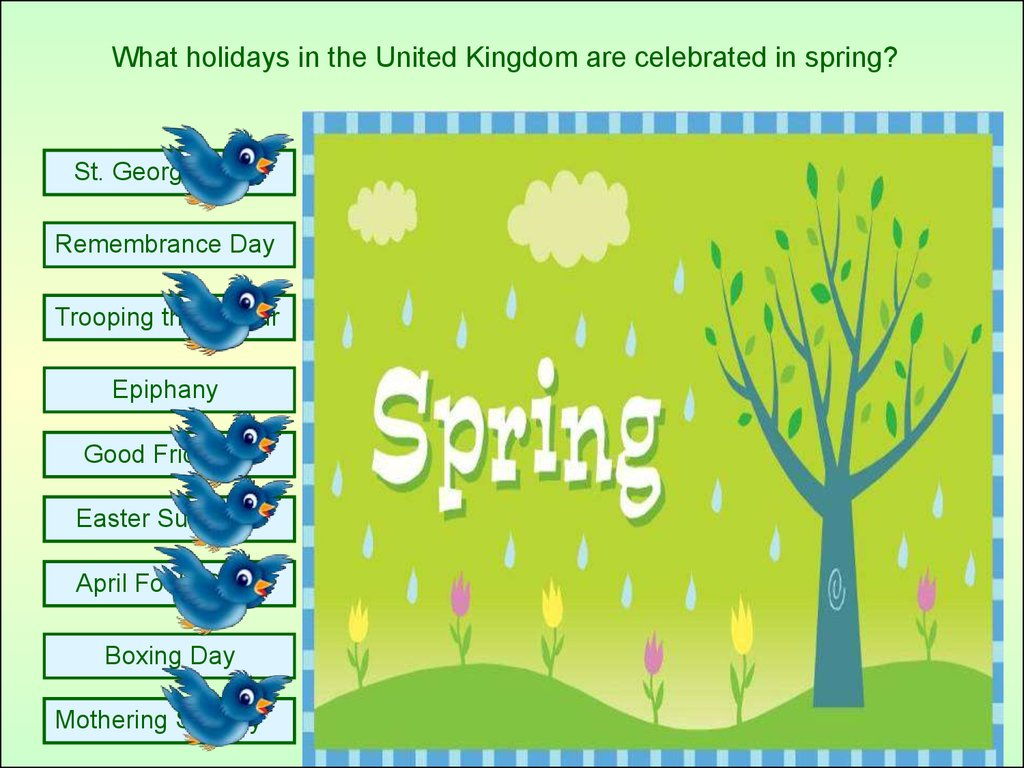 What holidays in the United Kingdom are celebrated in spring?
