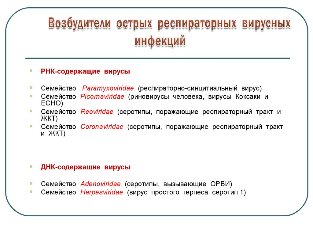 Возбудители респираторных вирусных инфекций реферат 8754