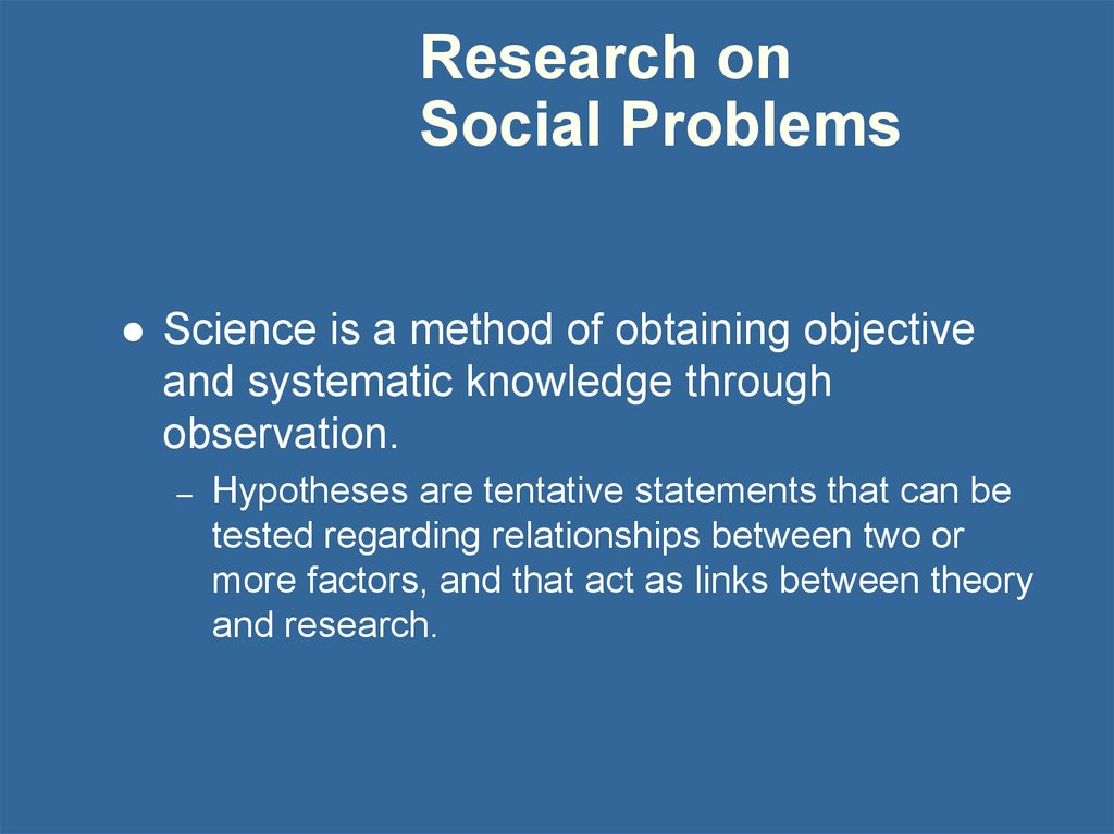 Research on Social Problems