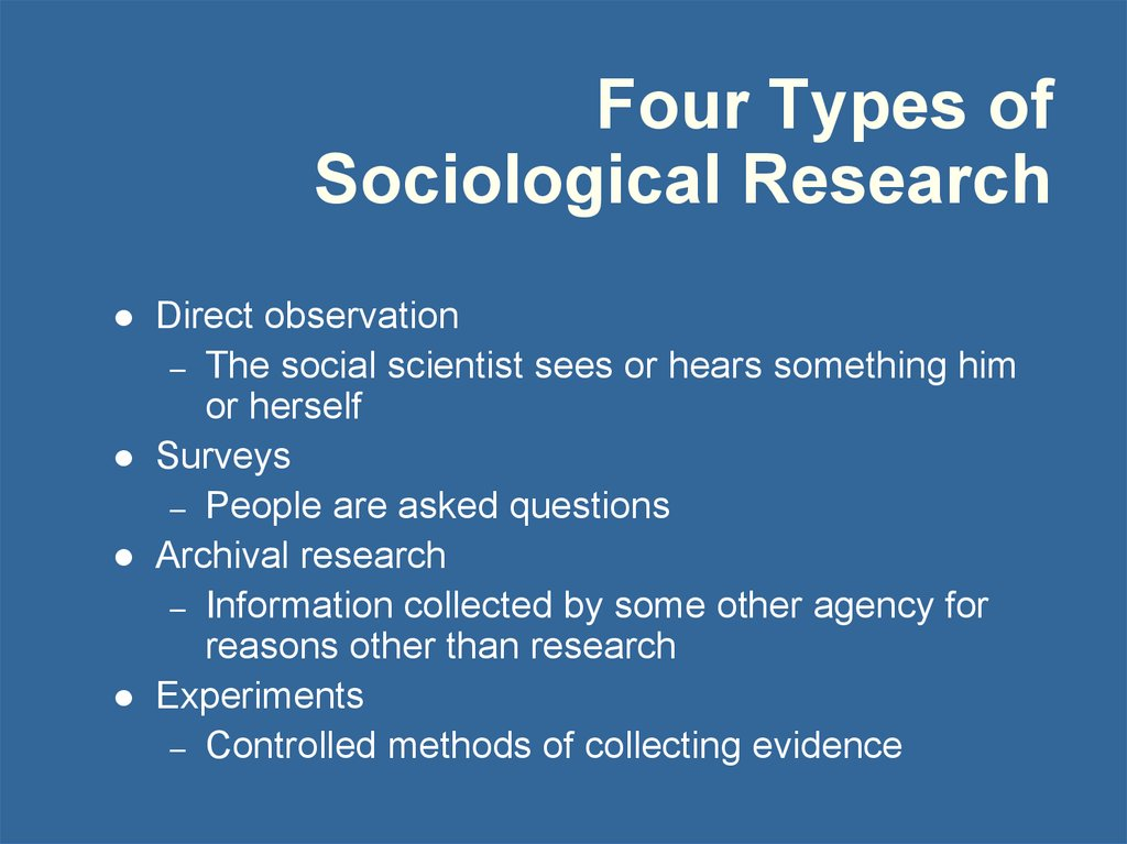 Four Types of Sociological Research