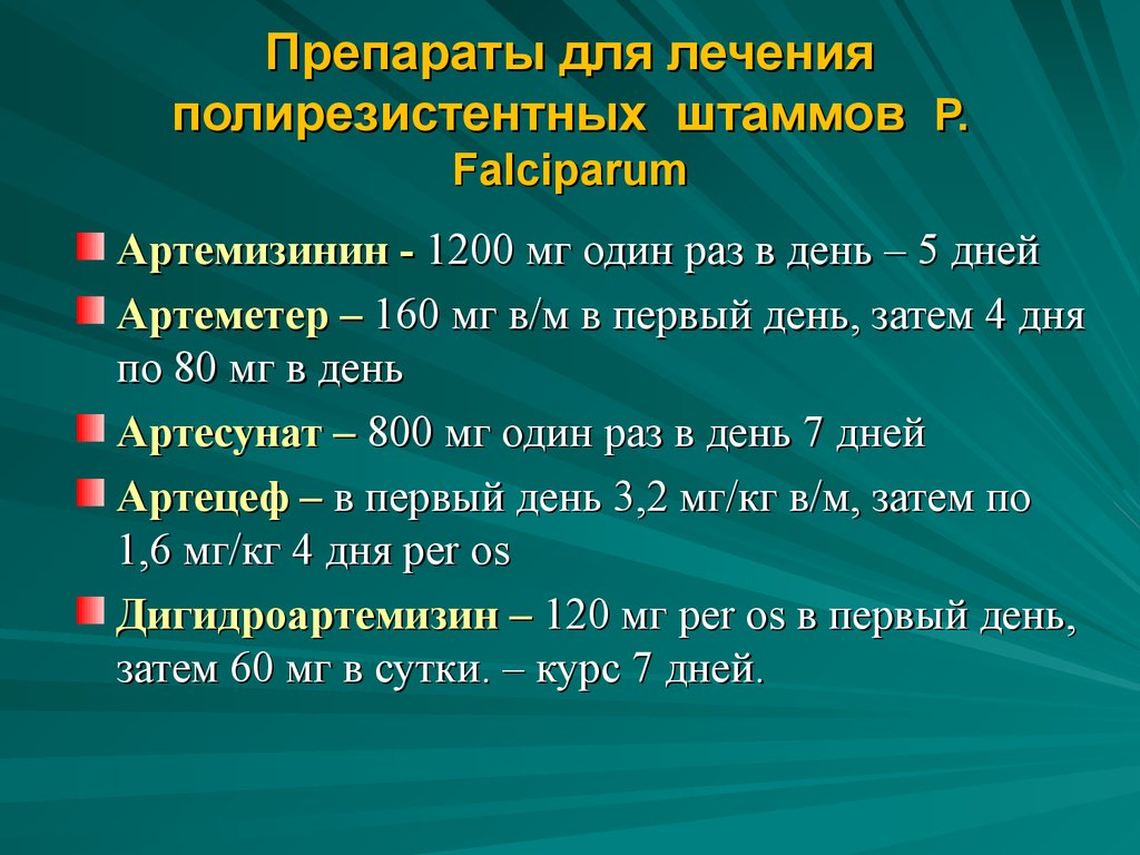 Препараты для лечения полирезистентных штаммов Р. Falciparum