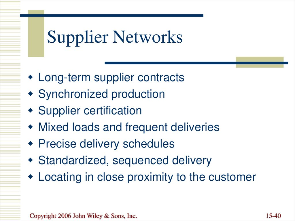 Supplier Networks