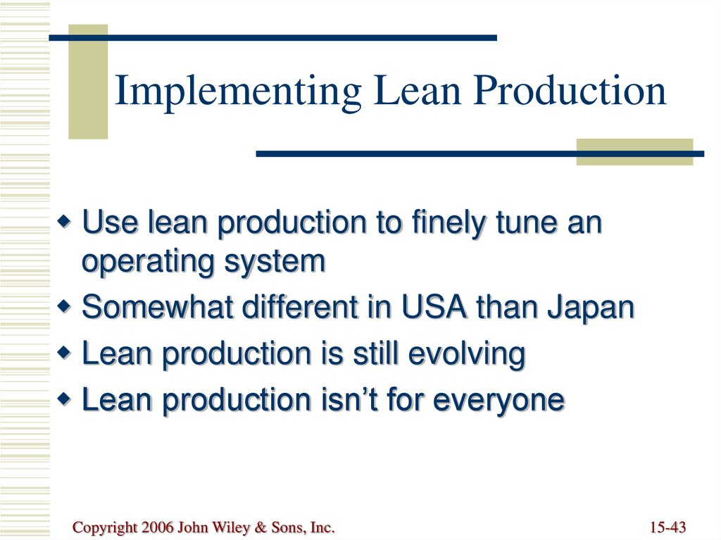 Implementing Lean Production