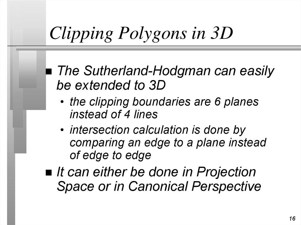 Clipping Polygons in 3D